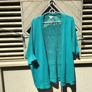 Aqua colored lace cardigan sweater